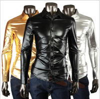 Night Club Fashion Shiny Shirt Coat Fabric Men S Shirts Slim Fit Men Shirt Long Sleeve