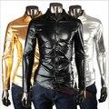 Discoteca de moda brillante capa de la camisa de los hombres de la tela delgada fit camisa de los hombres camisa de manga larga elástico hombres ropa ropa WE432