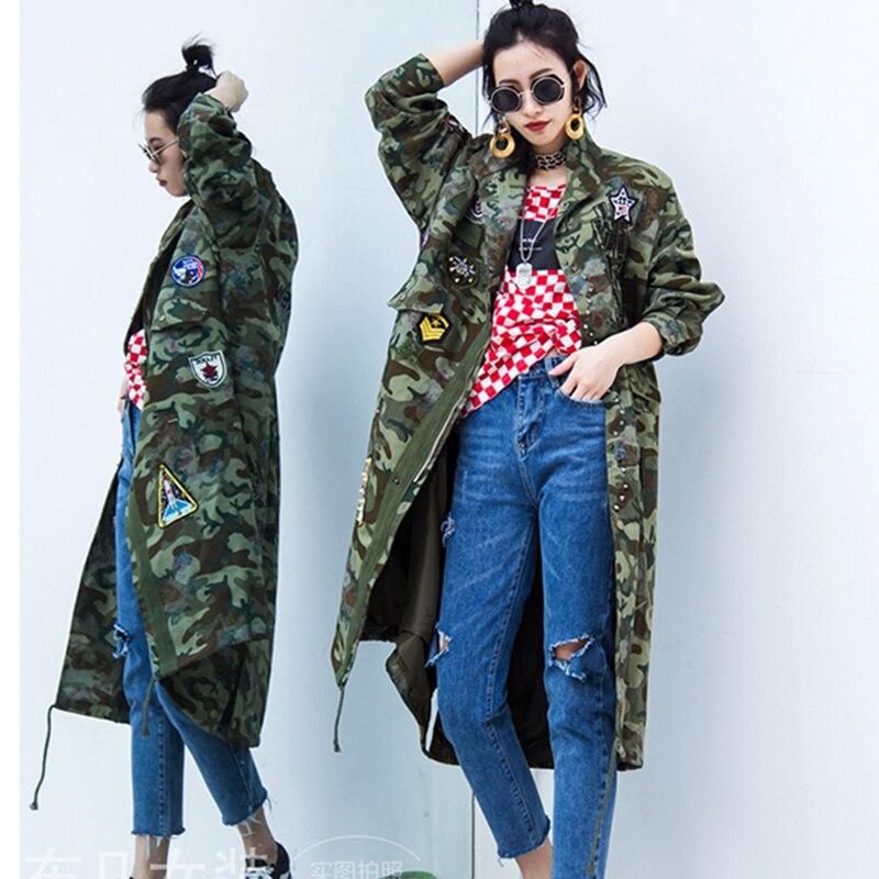 Automne Femmes Designs Manteau Patch Trench Hop Zipper Décontracté Coton coats Camouflage De Hip À Lyl391 Capuche Long Élégant Windbreake xqCCwgrt