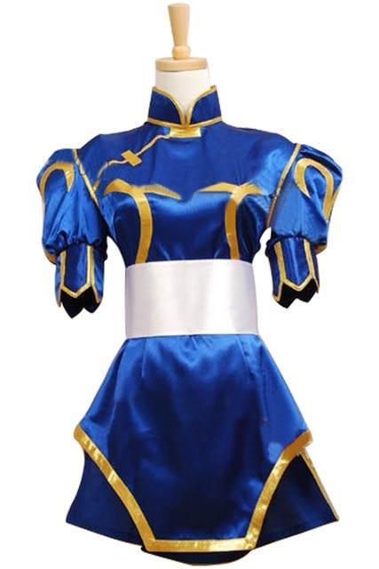 e51d49d0c Street Fighter Chun Li Cosplay Costume Chunli Blue Dress Cosplay Uniform  Kimono Cheongsam Outfit Halloween Carnival Cosplay