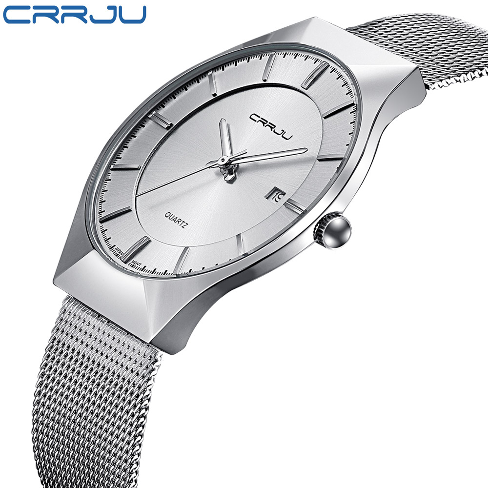 цены CRRJU Luxury Brand Men Watch Ultra Thin Stainless Steel Clock Male Quartz Sport Watch Men Waterproof Casual Wristwatch relogio