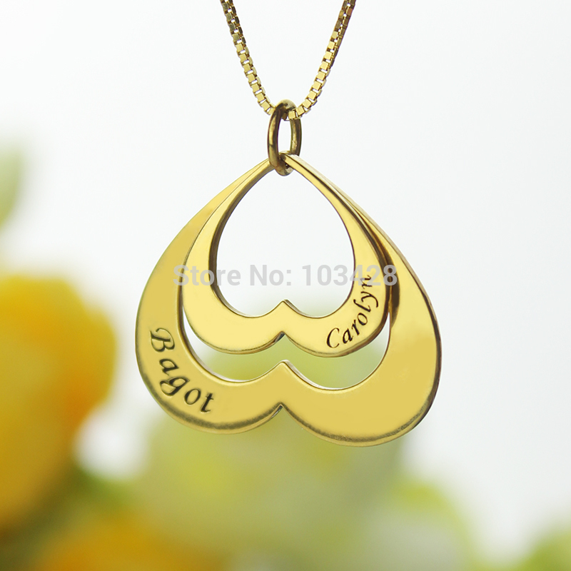 AILIN personnalisé Double coeur nom collier mère collier personnalisé 2 pendentif nom de famille collier or couleur bijoux