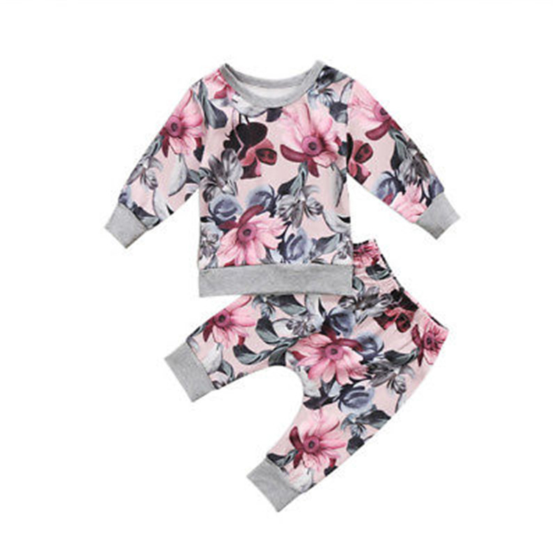 Newborn Baby Girls Clothes Long Sleeve Coat T-shirt Tops+Floral Pants Leggings 2pcs Outfits Clothes Set