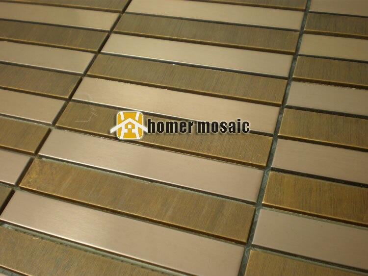 US $269.99 |Striscia rustico in ottone tessere di mosaico backsplash cucina  mosaico del metallo bagno doccia metallo piastrelle camino piastrelle a ...