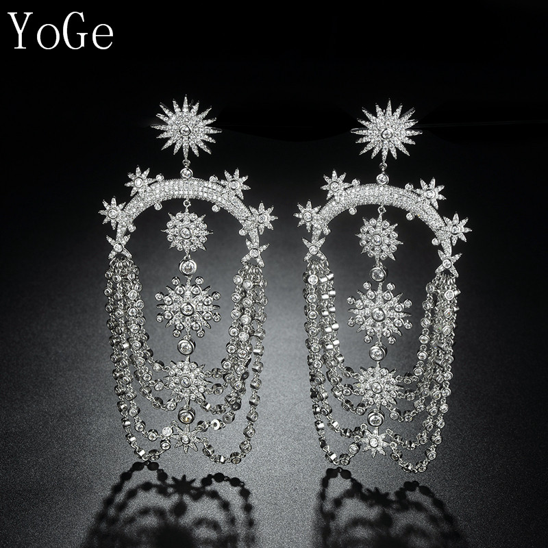 YoGe statement jewellery E6691D Luxury AAA CZ stars shaped big long heavy drop earring womens accessaries
