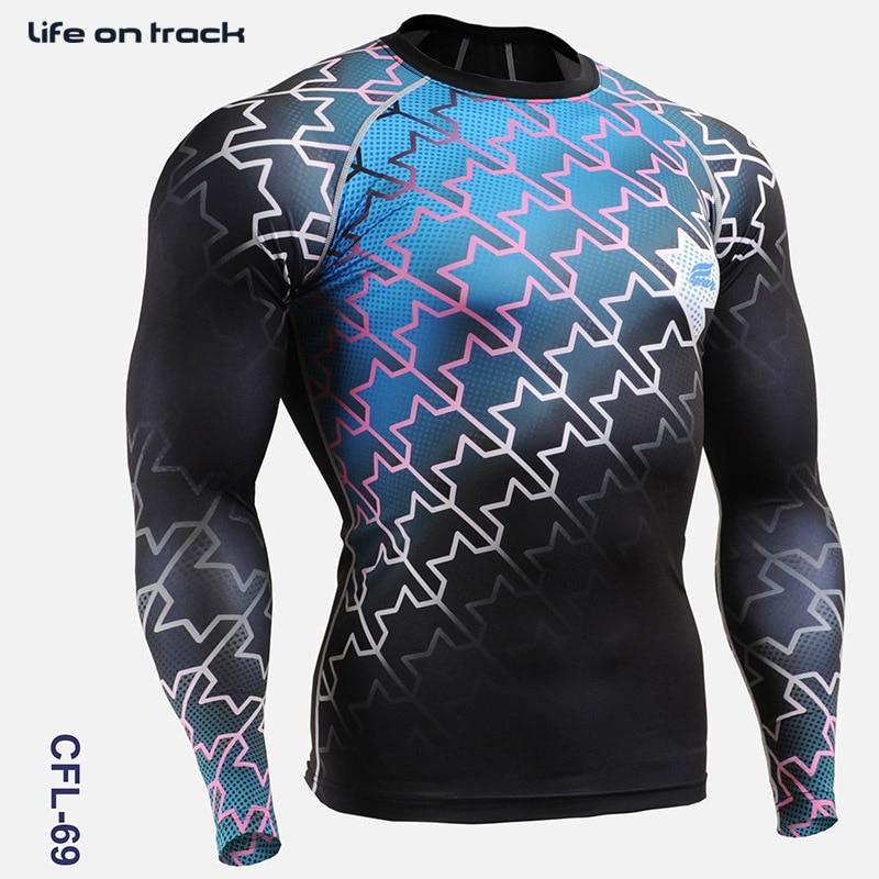 Vêtements de cyclisme hommes 2016 impression complète Gym activité de plein air collants à manches longues chemises de vélo pour hommes course entraînement chemises de sport