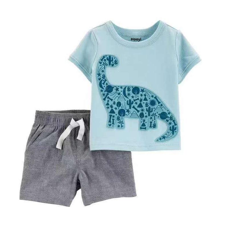 Baby Toddler Boys Girls Kids 2 Piece Dinosaur Print Sweatshirt Plaid Pants Set
