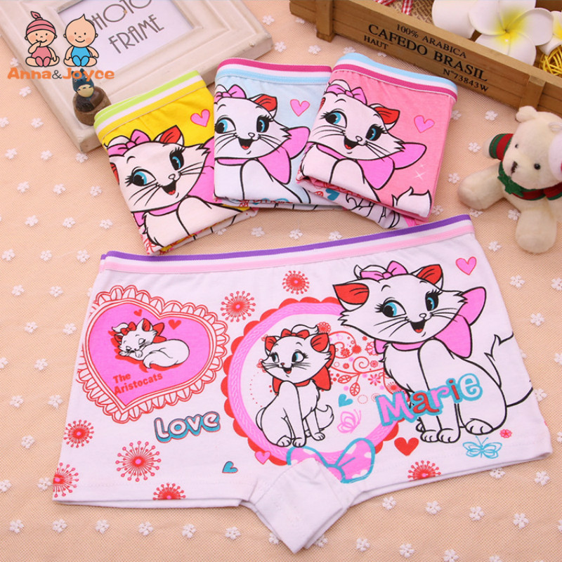 4Pcs/Lot Children's Boxer Underwear Cotton Cute Cat Girls Underwear Boxer Briefs New HTNN441
