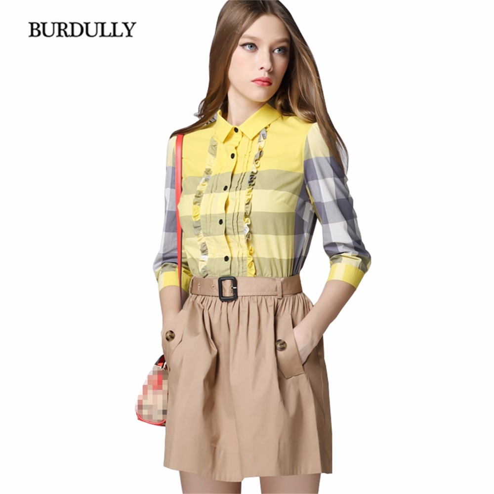 BURDULLY England Plaid Patchwork Elegant Dresses New Arrival For Women Summer Mini Dress Party Vestido De