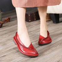 GYKZ 2018 New Spring Single Shoes Female Genuine Leather Art Women S Shoes Shallow Mouth Personality