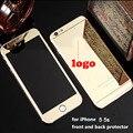 Para el iphone 5 5S anti-explosión de cristal templado negro frente y volver film protector de pantalla espejo 9 h 2.5d bordes redondeados de color oro