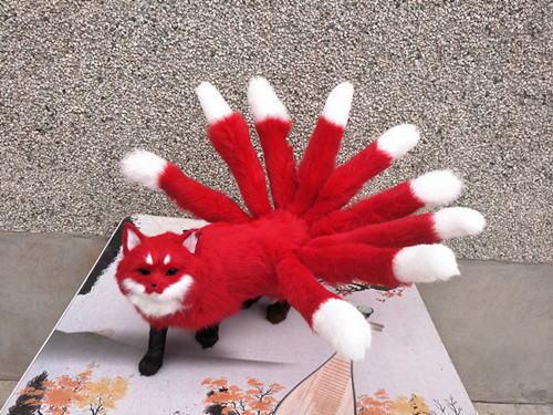 new creative simulation red fox model plastic&fur hot red nine-tails fox doll gift 35x23cm a166