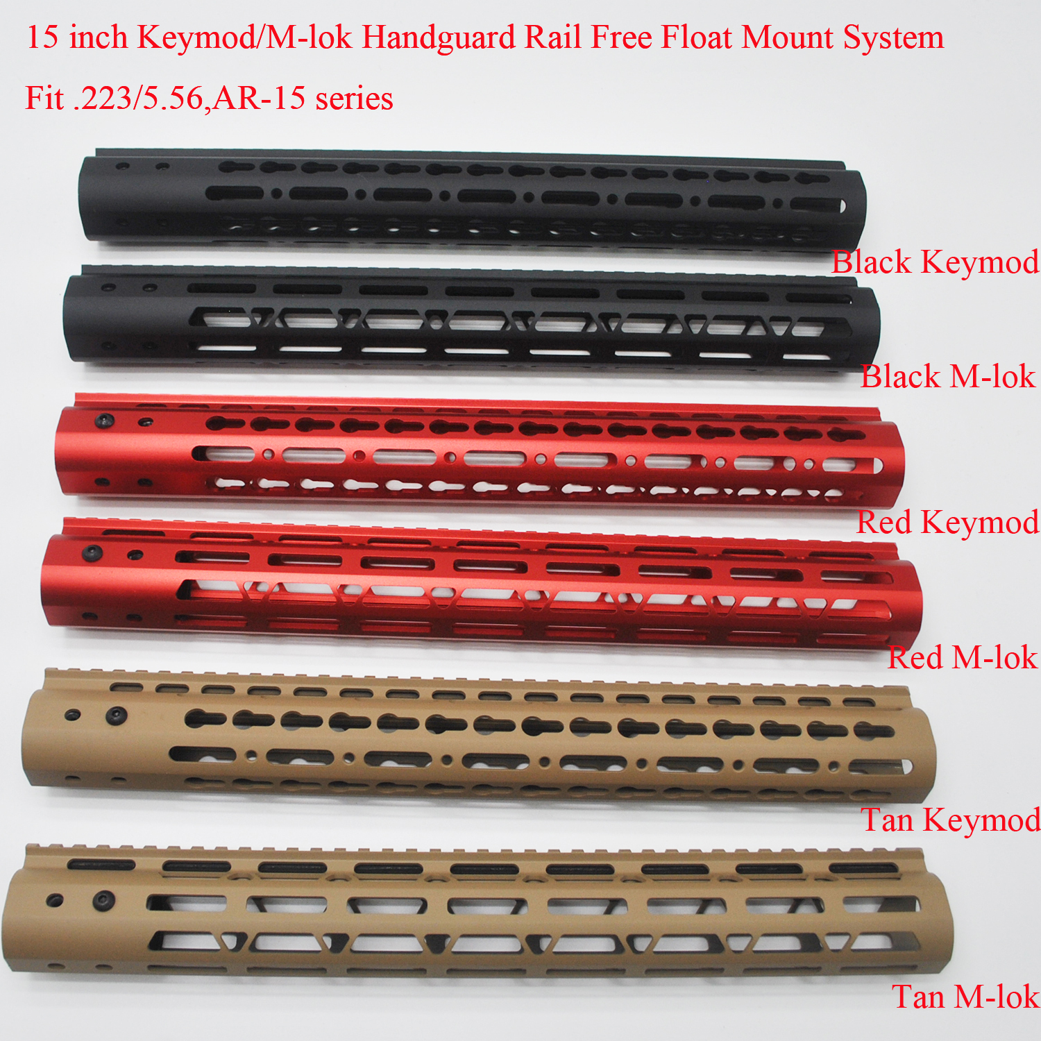 Aplus <font><b>15</b></font>'' inch Free Float <font><b>Handguard</b></font> Rail M-lok / Keymod Style Mount System Fit .223/5.56 <font><b>AR</b></font>-<font><b>15</b></font>_Black/Red/Tan Color image