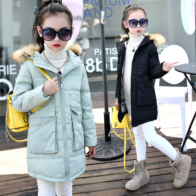 2017 New Winter Children Down Parkas Fashion Kids Hooded Casual Warm Cotton Padded Girls Outerwear Down Coats Black Pink Green womens winter jackets coats new thick warm hooded down cotton padded parkas for women s winter jacket female manteau femme 5l21