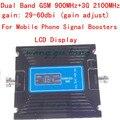 Mais novo ajuste de ganho Signal booster Gsm 2G 3G Display LCD! GSM 900 GSM 2100 Mobile Phone Signal Booster Repetidor Amplificador 3G GSM