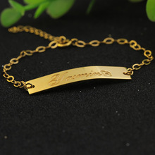 Charm Golden Engraved Name Bracelet Solid Silver Customized Nameplate Bracelet Women Personalized Memorial Birthday Jewelry