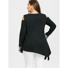 New Plus Size 5XL Cold Shoulder Asymmetric Embroidery Shirt Fashion Spring Black Oversized Long Top Female Big Size