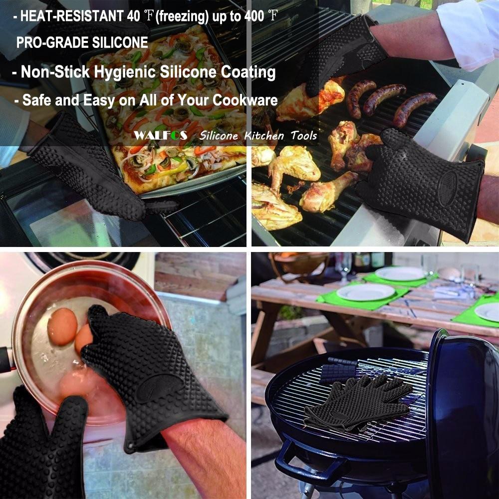 Gred makanan WALFOS tahan haba silikon getah BBQ gril sarung tangan - Dapur, makan dan bar - Foto 2