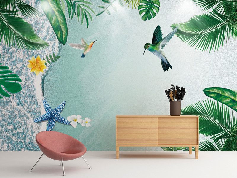 Custom 3D Photo Wallpaper Mural Modern Simple Tropical Plant Beach Bird Nature Wallpaper for Living Room TV Background Walls 3 d wallpaper for walls 3 d modern trdimensional geometry 4d tv background wall paper roll silver gray wallpapers for living room