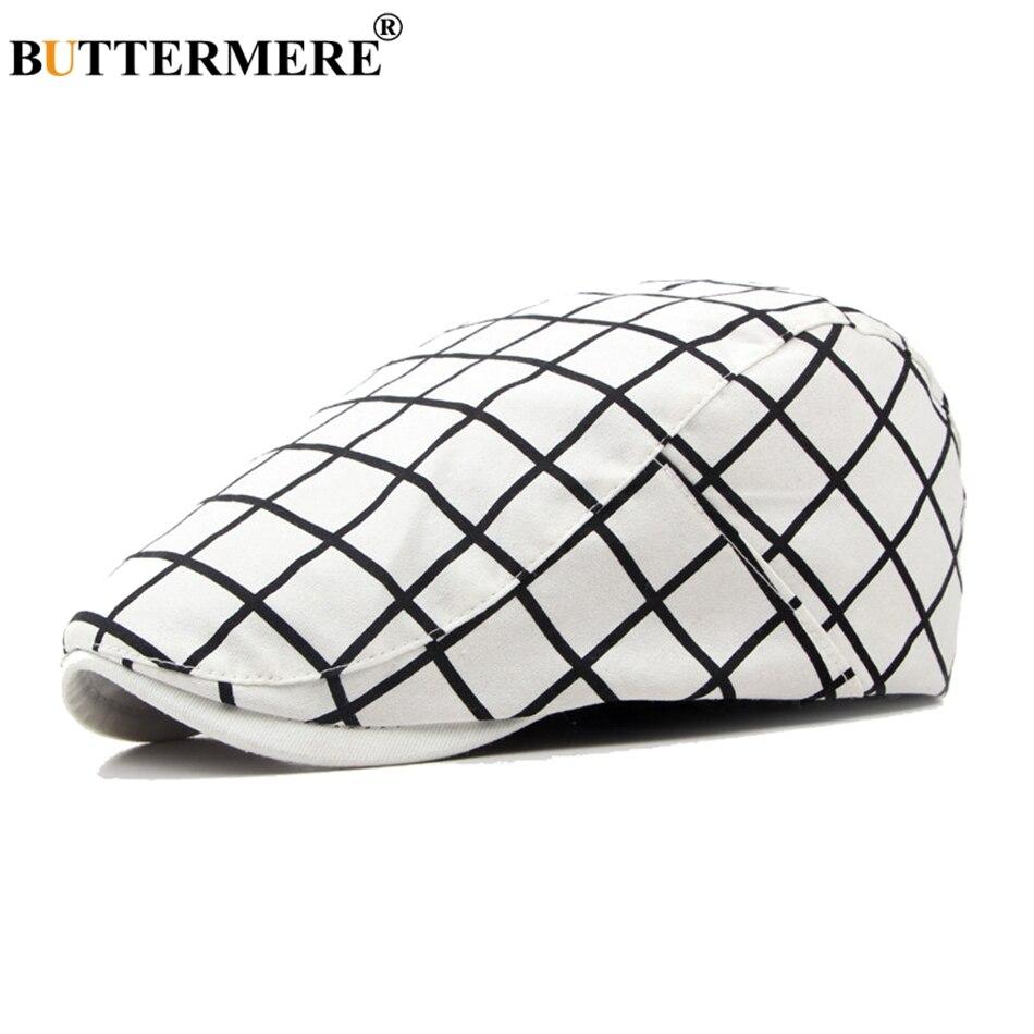 BUTTERMERE Beret-Hats Checkered Flat-Cap Designer White Plaid Classic British Male Cotton