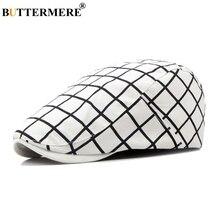 BUTTERMERE Plaid Beret Hats Women White British Cotton Flat Cap Male Checkered Classic Fashion Designer Casual Gatsby Caps