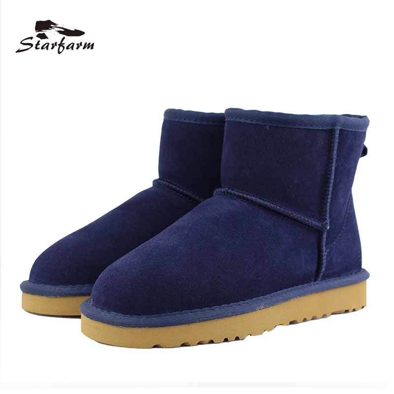 STARFARM 2017 Winter Shoes Snow Boots Women Australia Boots Fur Wool Ankle Boots Wool Slip On Shoes Warm TPR Ug Boots SF17918 2016 rhinestone sheepskin women snow boots with fur flat platform ankle winter boots ladies australia boots bottine femme botas