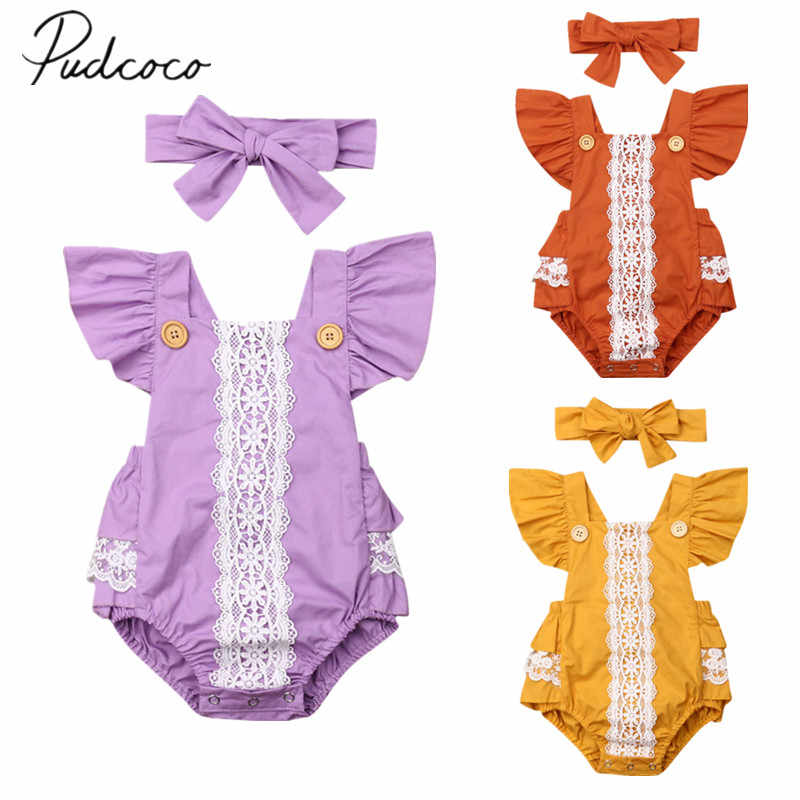 2019 Baby Zomer Kleding Pasgeboren Baby Meisjes Mouwloze Kant Kleding Jumpsuit Patchwork Ruches Bodysuit Hoofdband 2 STUKS Outfits