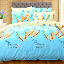 Blue Colorful Feather Pattern Duvet Cover 4pcs Bedding Set Adult Soft Cotton Bed Linen Quilt Comforter Pillow Case Queen24(China)