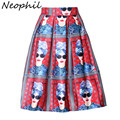 Neophil 2016 American European Fashion Style Girls Portrait Print Red Pleated High Waist Tutu Skater Midi Pleated Skirts S0905