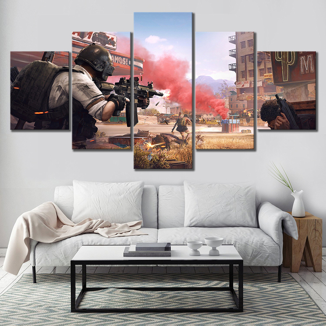 Modular HD Print Canvas Poster Frame 5 Piece Pubg Stimulate The Battlefield Video Game Art Painting Home Decor Room Wall Picture