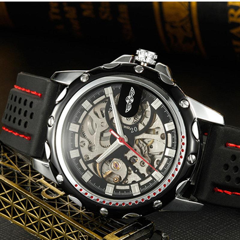Prix pour 2016 nouveau gagnant mode hommes Silicone sport montre squelette de la main mécanique à remontage automatique montre - bracelet militaire horloge Erkek Kol Saati