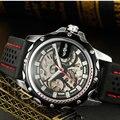2016 nova vencedor moda homens de Silicone esportes relógio mecânico de esqueleto relógio de pulso militar relógio Erkek Kol Saati