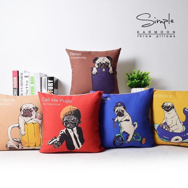 Funky Pug Dog Cushion Cover Linen Novelty Funny Fawn Puppy Bulldog Throw Pillow Case Cute Animal