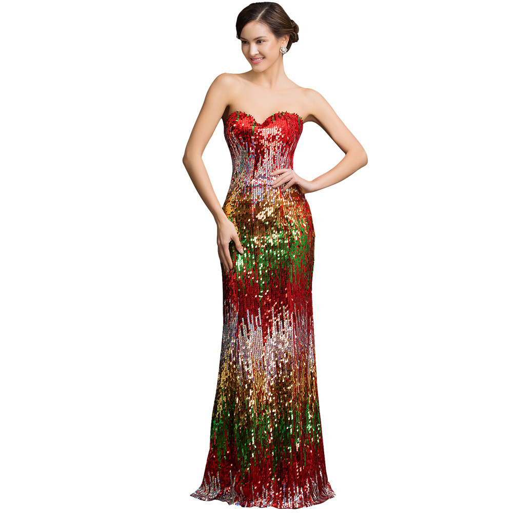 Sweetheart Colorful Sequins Lace Evening Dress 15