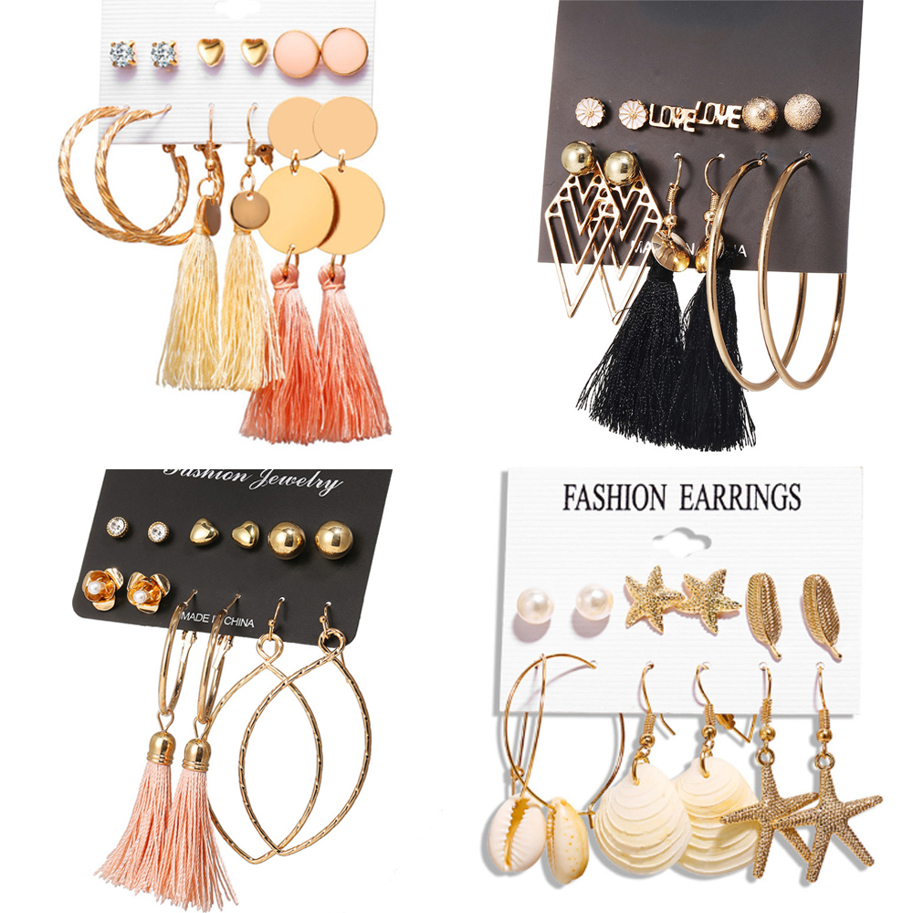 17KM Earrings-Set Stud Flower Tassel Wedding-Jewelry Gold Bohemian Women New-Fashion