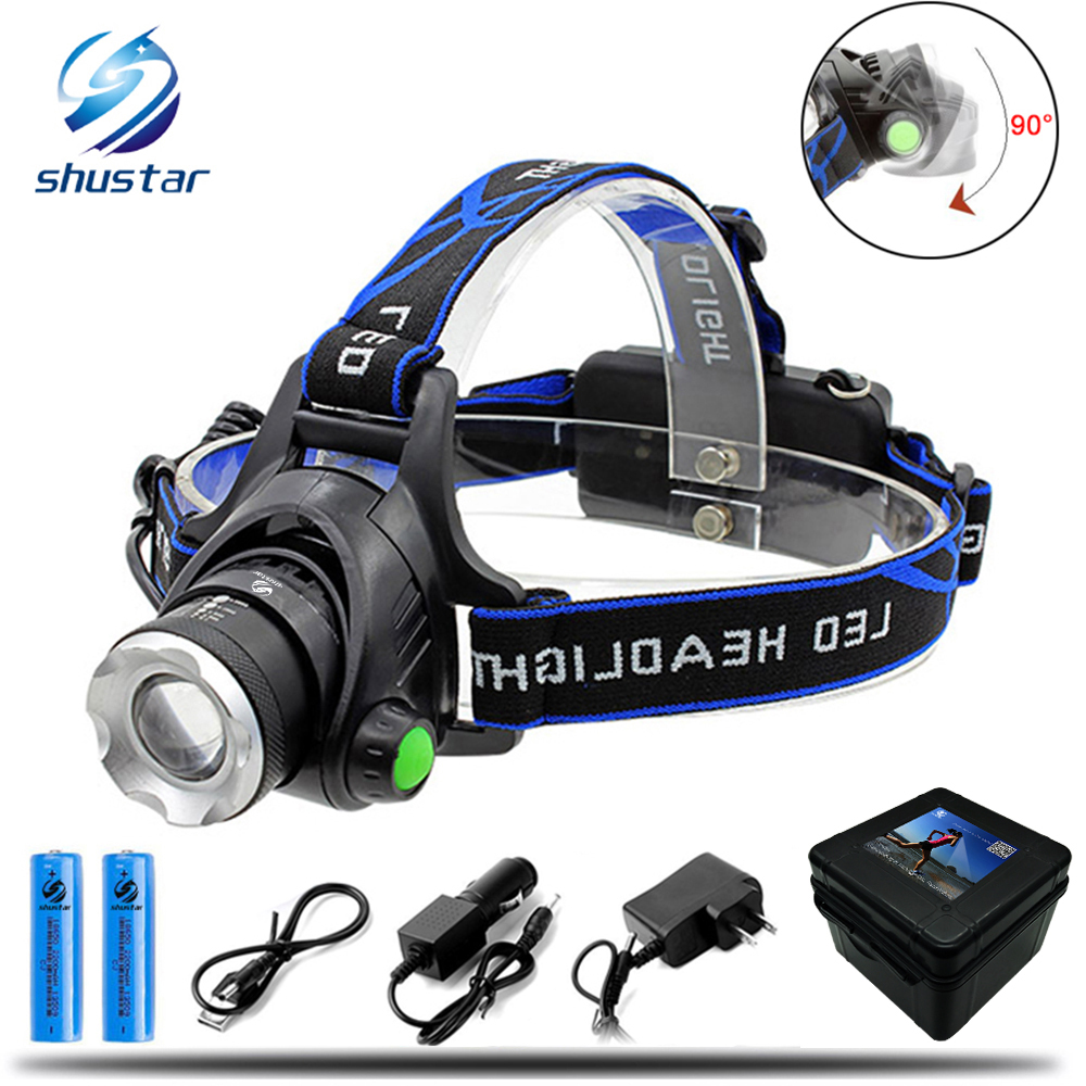 LED headlamp fishing headlight 6000 lumen CREE XM-L2 XML-T6 Zoomable lamp Waterproof Head Torch flashlight Head lamp use 18650