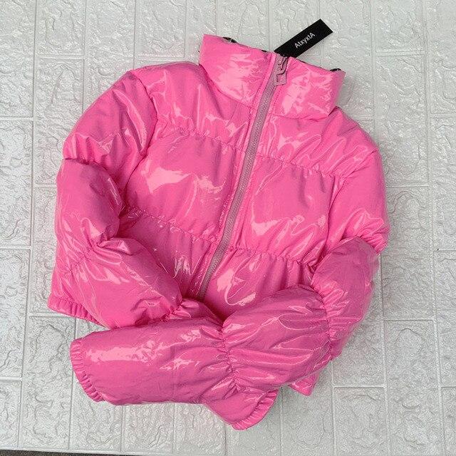 AtxyxtA الوردي فقاعة سترة منفوخة 2019 معطف الشتاء النساء الجير الأخضر الوردي الأصفر الأحمر الأسود