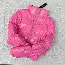 Atxyxta 핑크 버블 퍼퍼 자켓 2019 겨울 코트 여성 라임 그린 핑크 옐로우 레드 블랙
