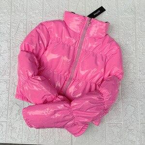 Image 3 - Bubble puffer jacket 2019 casaco de inverno feminino verde limão rosa amarelo vermelho preto