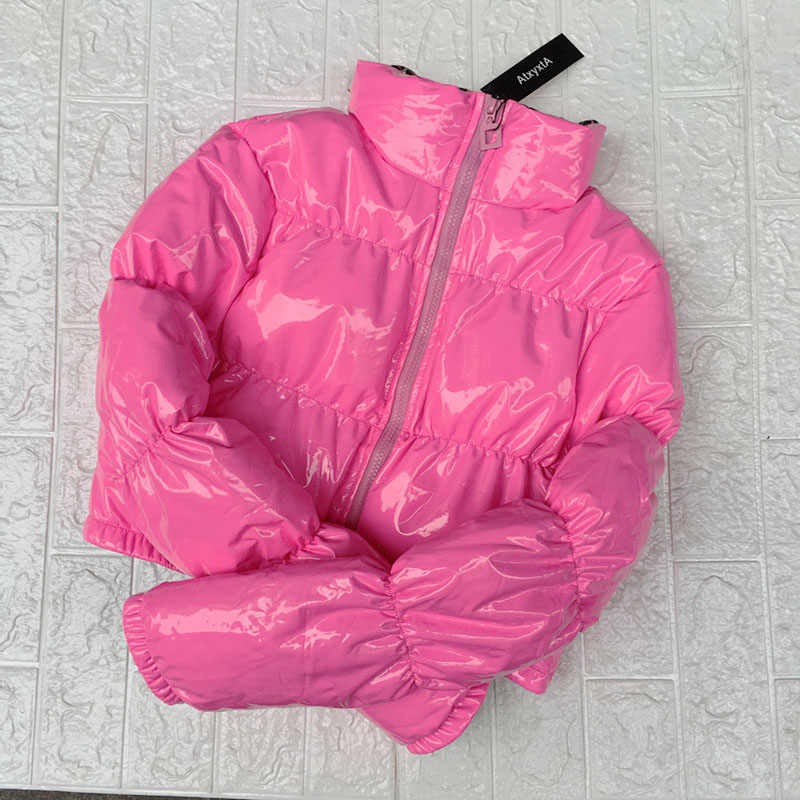fa44abdab Cropped Down Parka Puffle Jacket Bubble Coat Winter 2018 Women New Fashion  Short Clothing Black Red Hot Pink Yellow