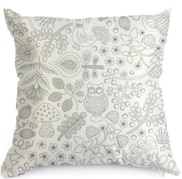 DIY Gift Graffiti Home Decorative Pillowcases Owl Fish Print Emulation silk Throw Pillow Cover Sofa Cushion