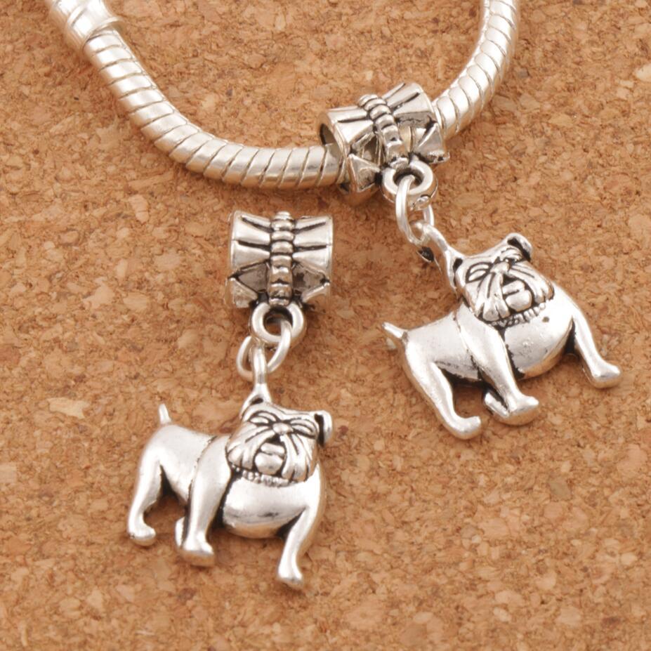 Bulldog Chien-Ancien Bracelet Pendentif Zipper Pull Charme Avec Homard Fermoir