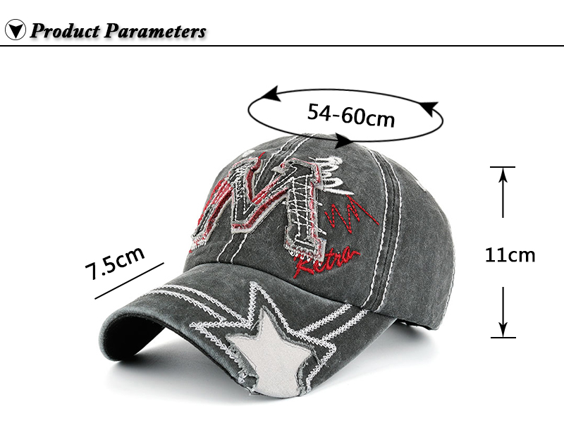 """Embroidered """"M"""" Baseball Cap - Product Parameters"""