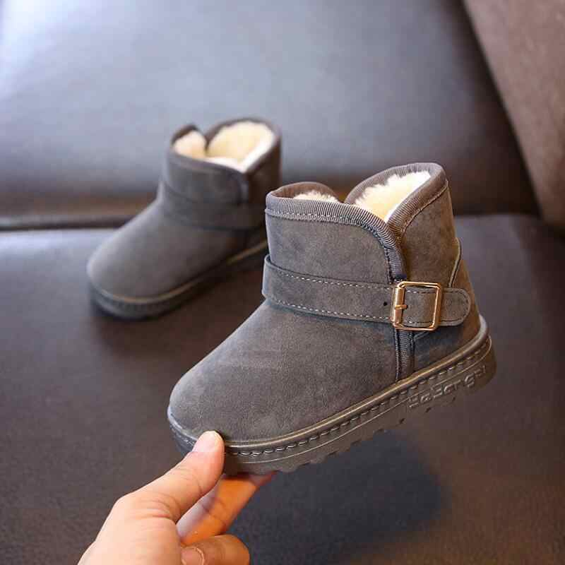Детские зимние ботинки для девочек 2018 г., зимние модели, новые модные мужские теплые ботинки из плотного бархата для детей, детские ботинки размер