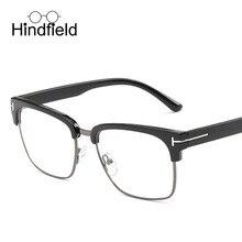 Hindfield Cuadrado Retro Gafas de Marco Marca Diseñador de Las Mujeres Unisex Del Remache Retro Espejo Plano Anteojos Recetados gafas de sol