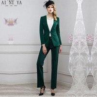 Для женщин Брючные костюмы для женщин Для женщин костюм Мода Профессиональный ПР платье бизнес деловой костюм куртка + Штаны высокого качес