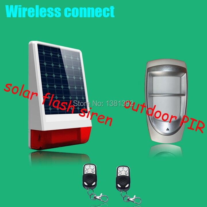 Wireless WaterProof Outdoor Dual PIR detector Motion Sensor With Pet Immunity+wireless solar  siren better than gsm alarm system