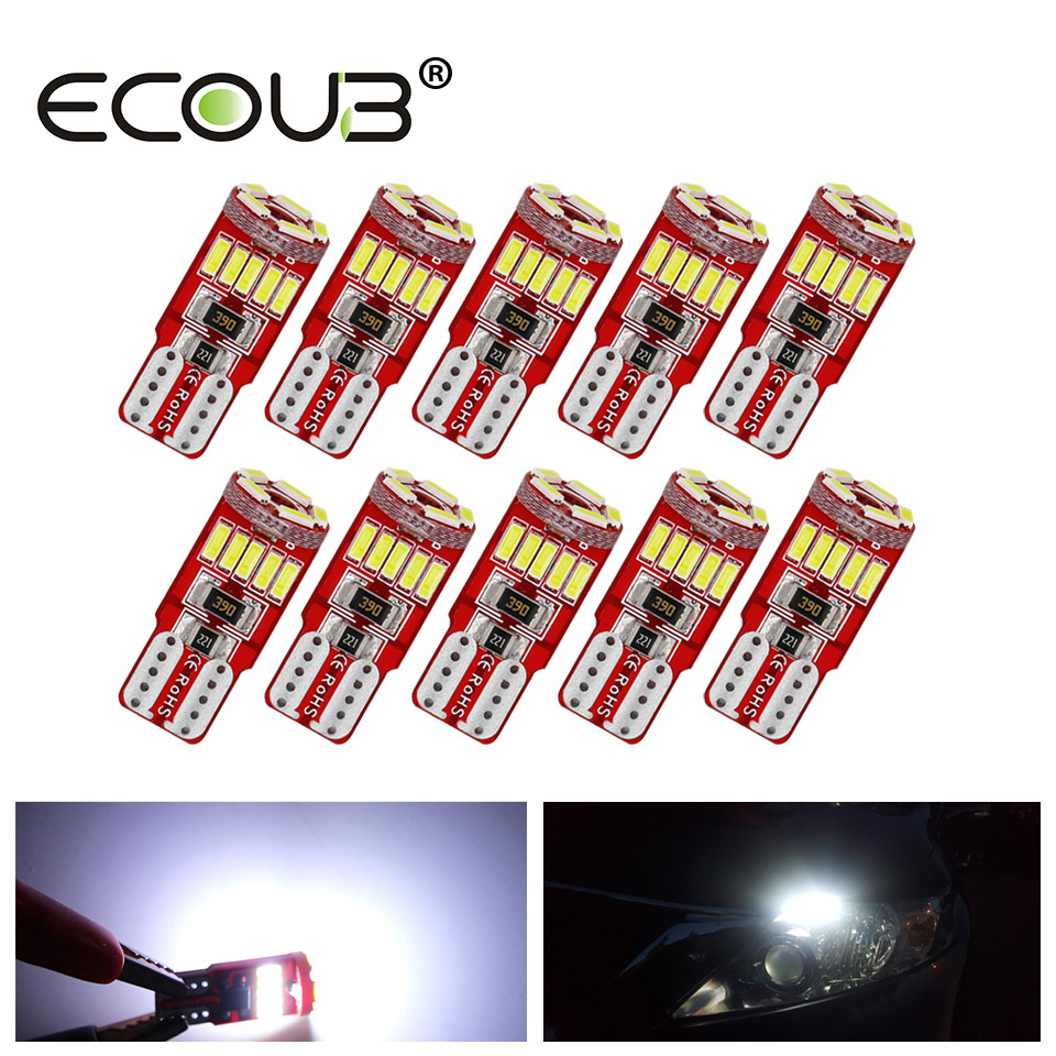 <font><b>10</b></font> Pcs LED <font><b>T10</b></font> Canbus W5W White <font><b>T10</b></font> Bulb Standard Shipping Error Free 12V 4014 <font><b>SMD</b></font> No Polarity 168 194 Clearance Parking Light image