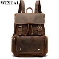 WESTAL 100% Crazy Horse Leather Men Backpack Large Backpack for Travel School Bags for Teenager Leather Laptop Backpack 8507