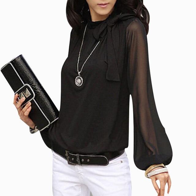 New 2016 Autumn Spring Women Chiffon Blouse Elegant Top Shirt blusas bowknot Lace bandage female blouses Full sleeve plus size